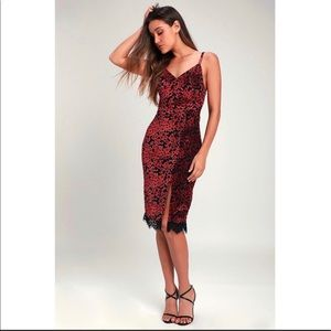 Lulu's Esposito Red Floral Velvet Midi Dress